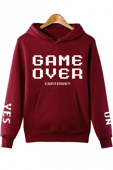 Street Style Long Sleeve Letter GAME OVER Printed Unisex Hoodie