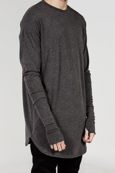 Street Style Long Sleeve Round Neck Plain Curve Hem Relaxed Tee with Thumb Hole Cuff