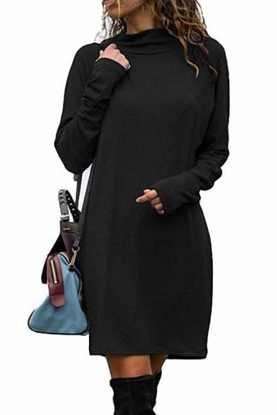 Stylish Long Sleeve High Neck Plain Mini Shift Dress