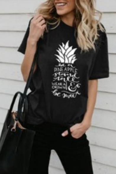 Unique Short Sleeve Round Neck Pineapple Design Letter Printed Tee