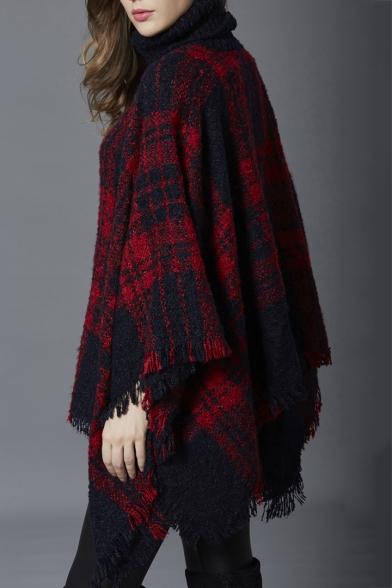Winter's Check Pattern Fashion Tassel Hem Warm Pullover Poncho Sweater