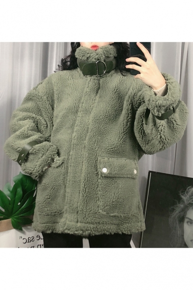Winter's New Arrival Long Sleeve High Neck Zip Placket Adjustable Pin-Buckle Cuff Thick Fleece Coat
