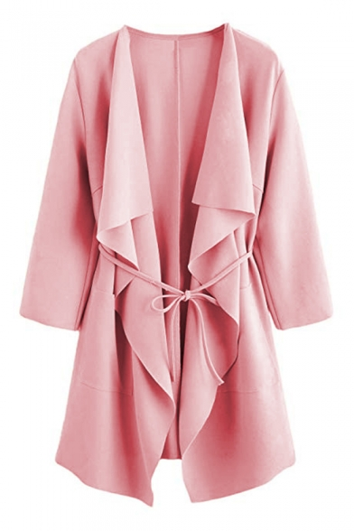 Women's Long Sleeve Cascade Collar Bow-Tied Waist Solid Basic Fashion Trench Coat