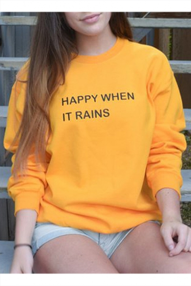 Yellow Long Sleeve Letter HAPPY WHEN IT RAINS Printed Round Neck Girl's Loose Sweatshirt