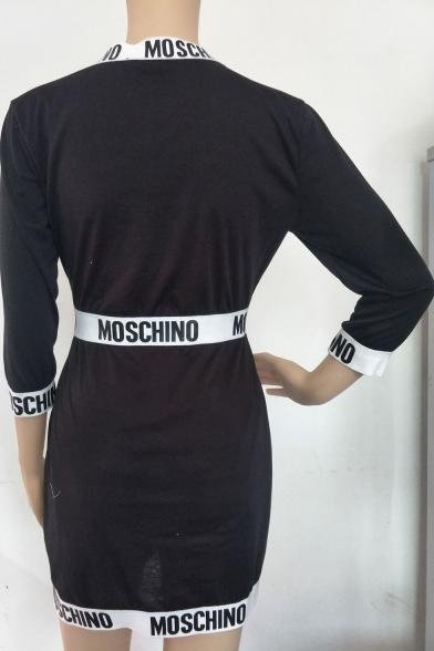 3/4 Length Sleeve Mock Neck Colorblock Letter Printed Black Slim Bodycon Mini Dress