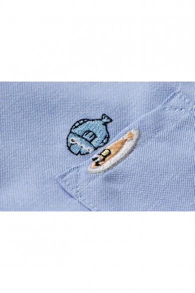 Cartoon Crying Fish Embroidered Pocket Chest Long Sleeve Lapel Collar Button Shirt