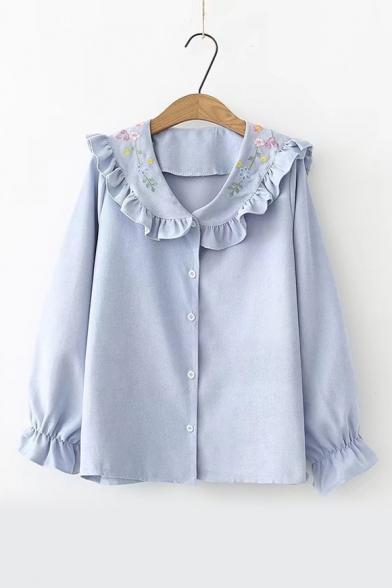 Купить со скидкой Chic Floral Embroidered Collar Ruffle Hem Long Sleeve Button Front Shirt