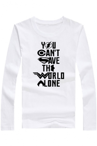 Cotton Letter YOU CAN'T SAVE THE WORLD ALONG Printed Long Sleeve Round Neck Fitted Tee, Color 1;color 2;color 3;color 4;color 5;color 6