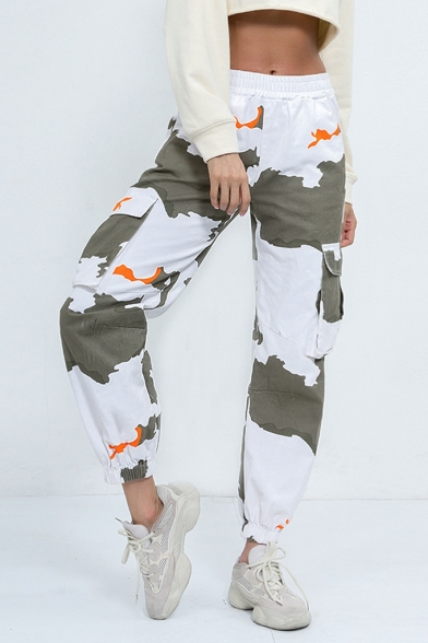 Elasic Waist Classci Camo Pattern Side Flap Pocket Elastic Cuffs Relaxed Jogger Cargo Pants