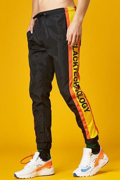 Hip Hop Style Leisure Colorblock Letter Printed Drawstring Waist Sports Unisex Pants