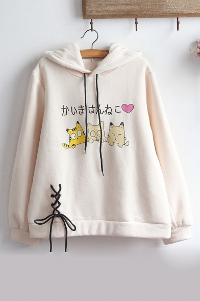 Leisure Long Sleeve Cartoon Cat Letter Printed Lace Up Front Hoodie