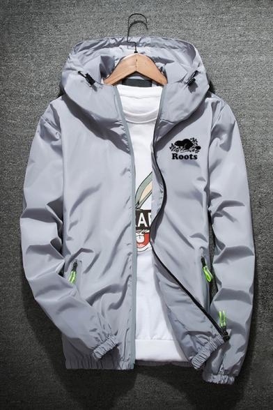 Long Sleeve Contrast Zipper Pockets Letter Printed Zip Placket Hooded Coat