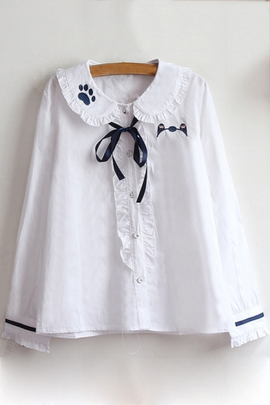 Lovely Ruffle Trimmed Peter-Pan Collar Bow-Tied Neck Cat Claw Embroidered Long Sleeve Button Down White Shirt