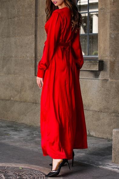 New Fashion Boho Style Long Sleeve Plunge V Neck Plain Tie Waist Split Front Maxi Dress
