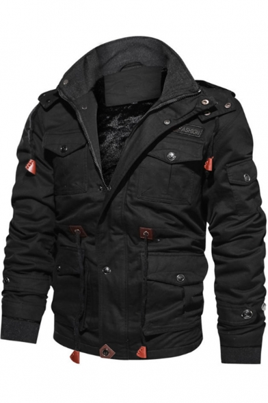 Popular Brown Zip Closure Plain Two-Way Collar Multiple Pockets Men's Military Jacket