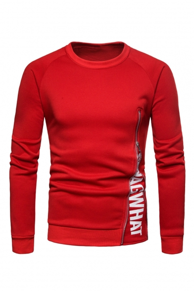 Red Cotton Blends Letter Print Zip Design Round Neck Long Sleeves Pullover Sweatshirt