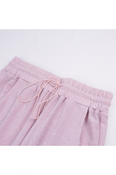 Round Neck Sleeveless Cropped Top Plain Drawstring Waist Pants Sports Pink Co-ords
