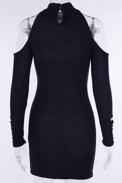 Sexy Long Sleeve Halter Black Distressed Mini Pencil Dress