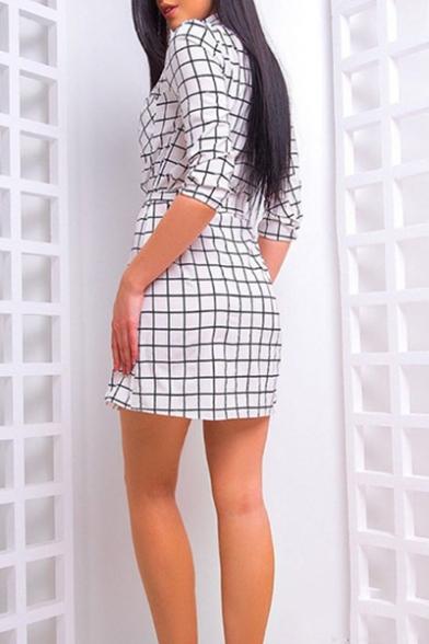Summer's 3/4 Length Sleeve Stand Collar Button Down Tie Waist Mini Shirt Dress