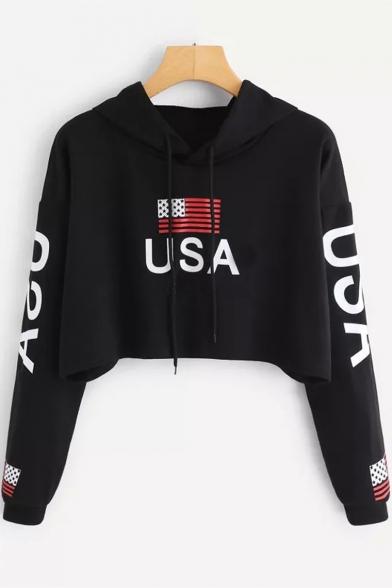 USA Flag Print Drawcord Hood Long Sleeve Loose Crop Hoodie