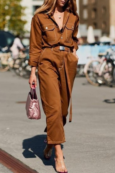 Купить со скидкой Vintage Brown Button Placket Long Sleeve Flap-Pockets Straight Leg Cropped Jumpsuit