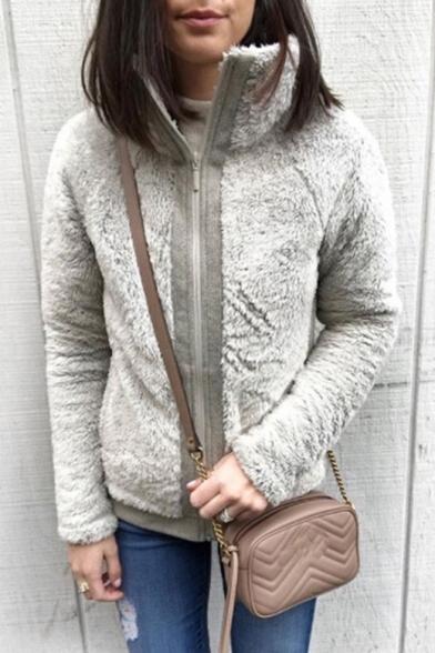 Warm Long Sleeve Contrast Trim Stand Collar Zipper Faux Fur Coat