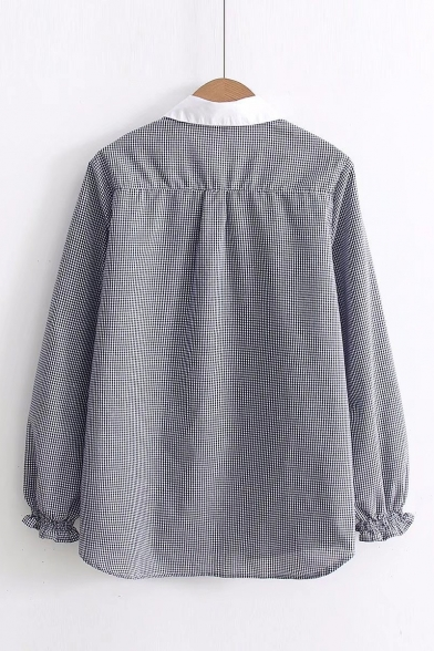 Contrast Collar Cartoon Lollipop Embroidered Gingham Print Long Sleeve Black Shirt