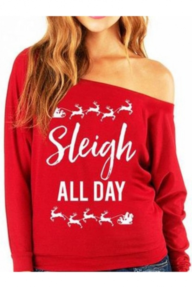 Fashion Red Letter Print One Shoulder Long Sleeve Regular Fit Pullover Tee