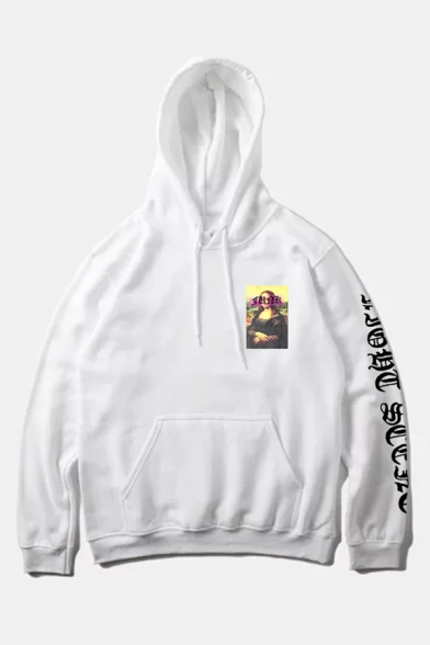 Fashion White Letter Long Sleeve Portrait Pattern Front Pocket Pullover Hoodie