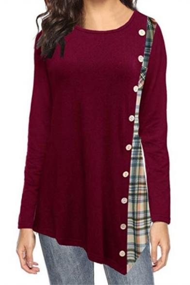 Fashionable Burgundy Round Neck Long Sleeves Plaids Patchwork Asymmetrical Hem Loose T-Shirt
