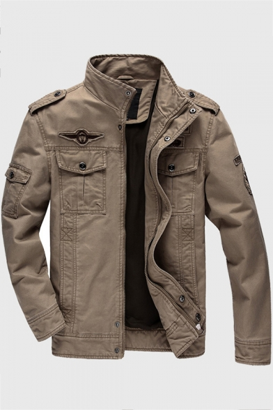 Fashionable High Neck Concealed Zip Closure Flap Pockets Long Sleeves Men's Workwear Jacket