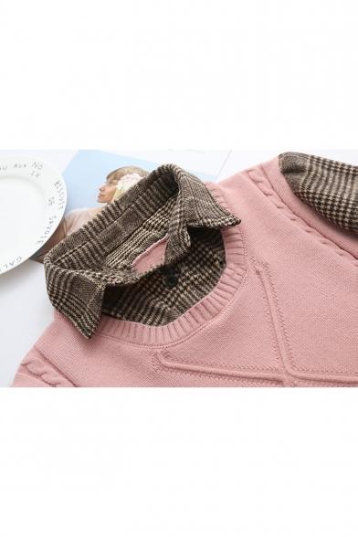 Fresh Retro Long Sleeve Lapel Collar Fake Two Piece Loose Mini Shift Dress
