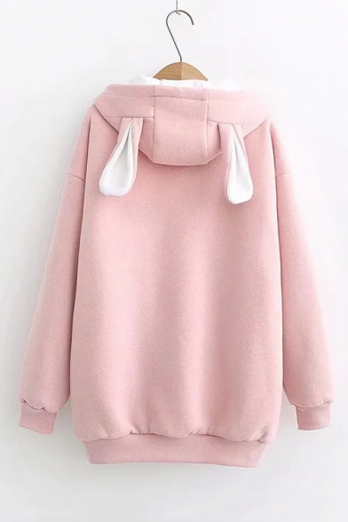 Funny Carrot Letter Embroidered Long Sleeve Zip Closure Pom Pom Embellished Hooded Coat