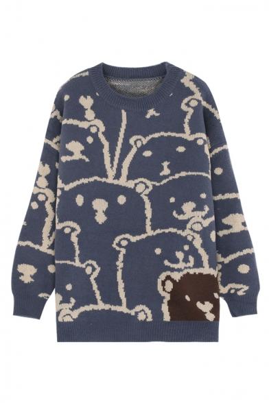 Funny Over All Cute Cartoon Bear Printed Long Sleeve Round Neck Tunics Sweater