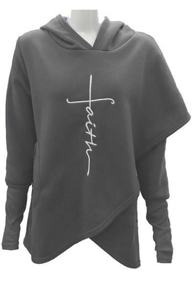Hot Fashion Long Sleeve Pattern Embroidered Asymmetric Hem Hoodie