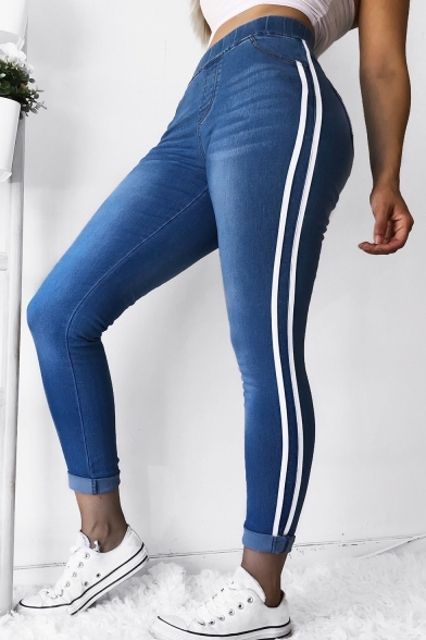 Hot Fashion White Red Striped Side Rolled Cuffs Denim Blue Skinny Jeans