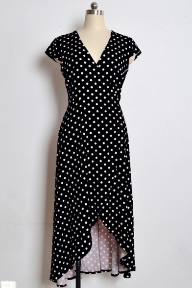 Hot Sale Short Sleeve V Neck Polka Dot Split Front Asymmetric Retro Maxi Dress