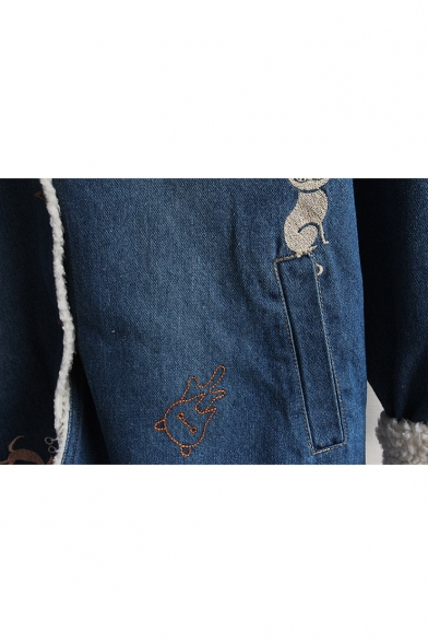 Long Sleeve Single Breasted Cartoon Cat Printed Lamb Wool Denim Hooded Coat