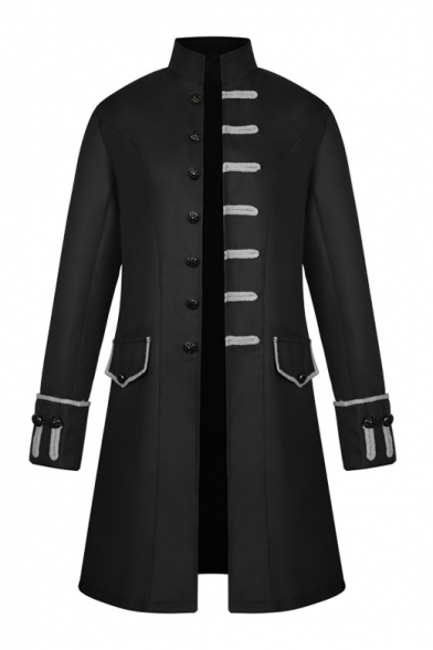 Medieval Costume Punk Style Long Sleeve Stand Collar Single Breasted Button Embellished Long Coat