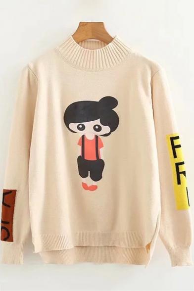 Купить со скидкой Mock Neck Long Sleeve Cartoon Character Letter Printed Leisure Sweater