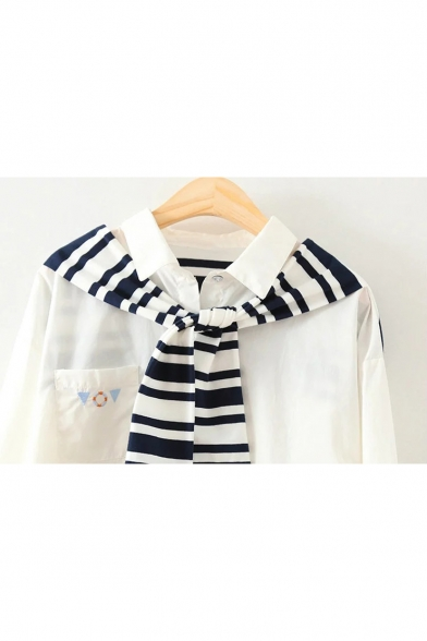 New Arrival Fashion Striped Print Tie Patchwork Long Sleeve White Button Shirt