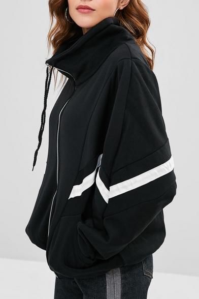 Popular Long Sleeve Stand Collar Contrast Trim Zip Placket Black Coat