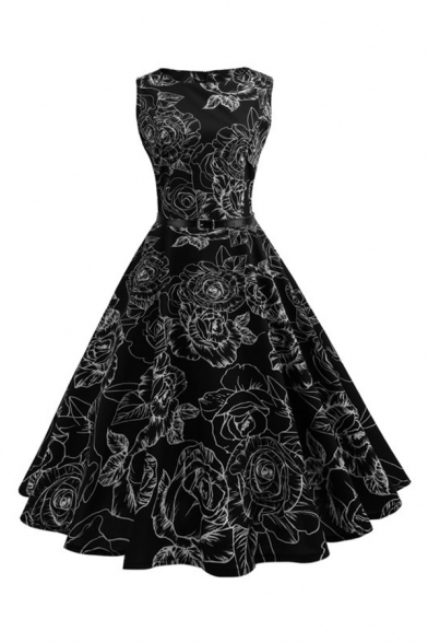 Retro Black Floral Printed Round Neck Sleeveless Zip Back Midi Fit and Flared Dress