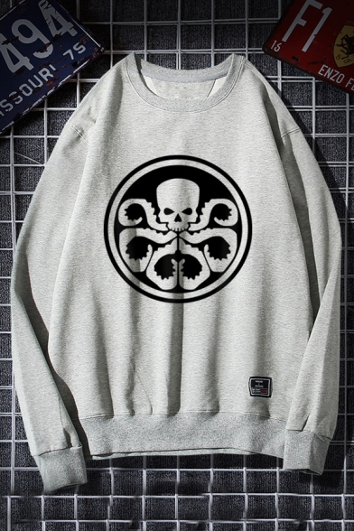 Winter's Fashion Long Sleeve Round Neck Skull Printed Leisure Sweatshirt