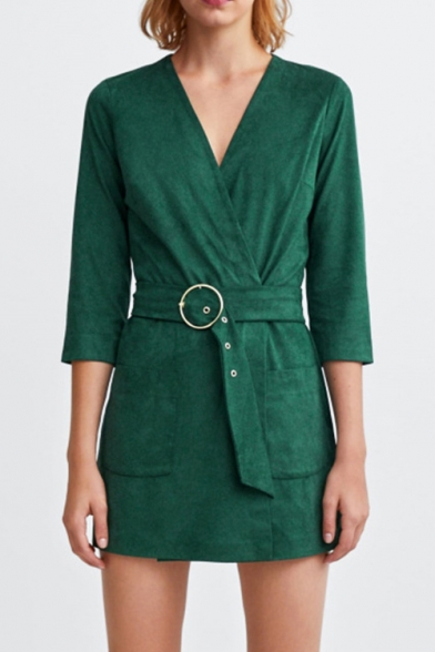 Фото #1: Women's Simple Solid Green V-Neck Wrap Front Belted Double Pockets 3/4 Sleeve Slim Romper