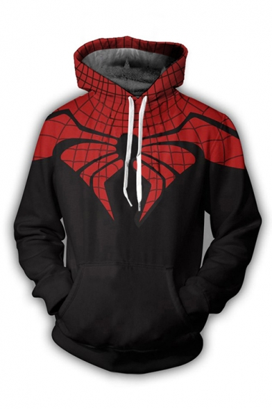 Abstract Spider Printed Colorblock Plush Leisure Black Hoodie