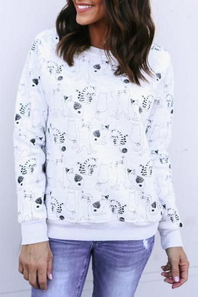 All Over Cartoon Cat Printed Round Neck Long Sleeve White Regular Fit Sweatshirt