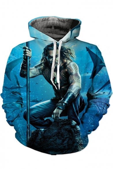 Blue Long Sleeve Character Printed 3D Unisex Leisure Hoodie