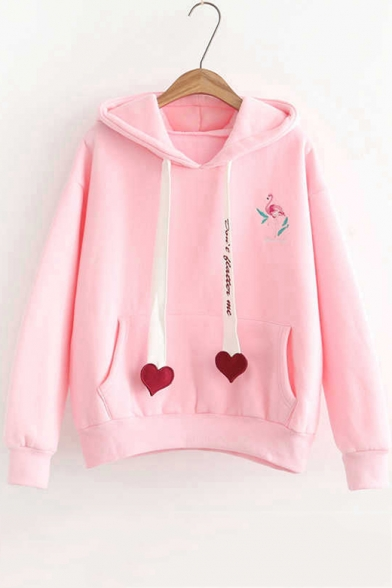 Chic Letter Heart Ribbon Flamingo Printed Long Sleeve Casual Loose Hoodie