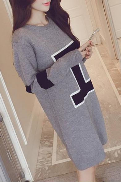 Chic Letter I Printed Long Sleeve Round Neck Shift Midi Dress
